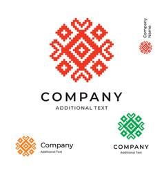 Ethno folk ornament logo modern identity brand vector