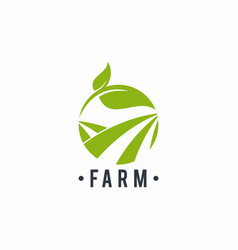 farm logo leaf circle abstract vector image