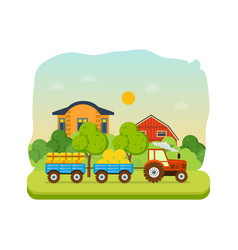 Farmland village with gardens greenery hay vector