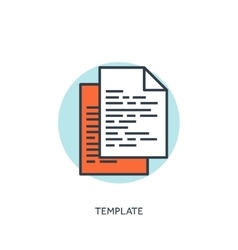 Flat lined template icon program code vector