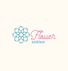 Flower store linear emblem vector