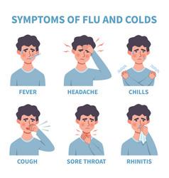 Flu symptoms common cold and flu symptoms vector