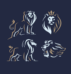 four lion logos with two color on dark background vector image