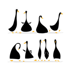 funny goose set sketch for your design vector image