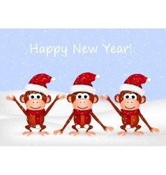 Funny monkeys on snow background vector image