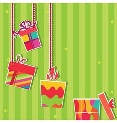 Gift boxes greeting card vector