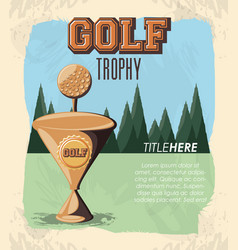 golf club label with trophy cup vector image