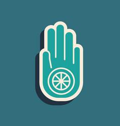 Green symbol jainism or jain dharma icon vector
