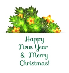 Greeting postcard with Christmas and New Year vector image