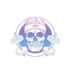 Hand drawn sketch sport skull vector