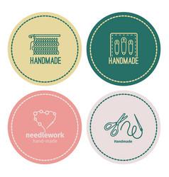 handmade line vintage logo set vector image