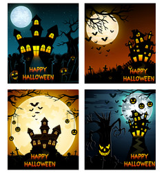 happy halloween banner set with scary tree and cas vector image
