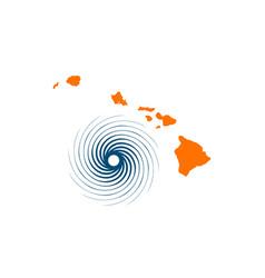 Hawaii islands and hurricane vector