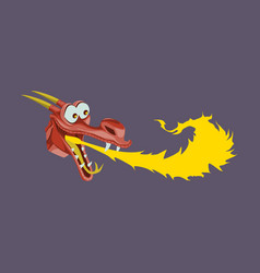 head of cartoon dragon with fire from his mouse vector image