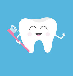 healthy tooth holding toothbrush with toothpaste vector image