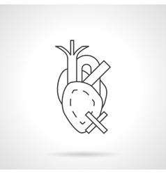 Heart diseases flat line icon vector image