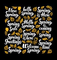 Hello spring calligraphy design vector