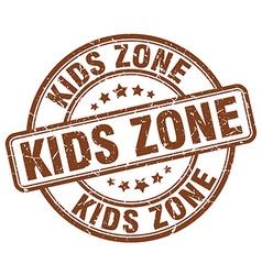 Kids zone brown grunge round vintage rubber stamp vector