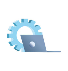 Laptop computer gear work solution vector