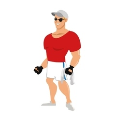 man with fitness outfit wearing sunglasses hat and vector image