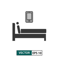 man with smartphone in bed icon isolated on white vector image