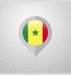 map navigation pointer with senegal flag design vector image