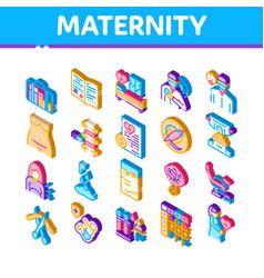 Maternity hospital isometric icons set vector