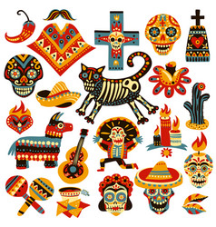 Mexican holiday day dead set vector