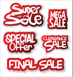 modern sale sticker and tag red collection vector image