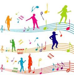 Music note with kids silhouettes dancing vector image