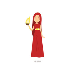 Mythology greek ancient woman god hestia in red vector