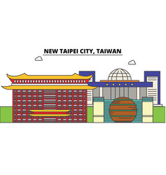 new taipei city taiwan outline skyline taiwanese vector image