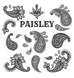 Paisley motifs ink pen set vector