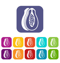 Papaya icons set vector