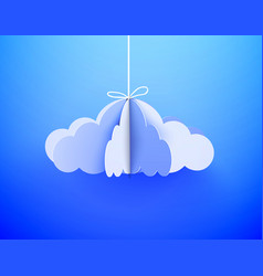 paper cloud in origami style on the sky background vector image
