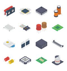 Pc internal devices isometric vector