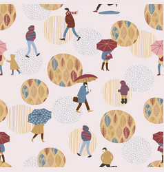people in the rain autumn vector image