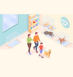 pet adopt family takes dog from animal shelter vector image