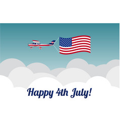 Plane in the sky with american flag vector