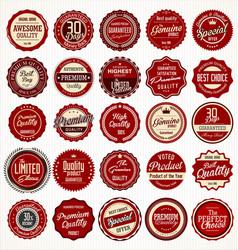 Premium quality retro vintage dark red labels vector