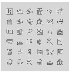 real estate related line icons set vector image