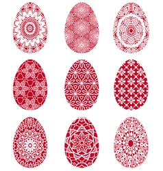 Red Easter eggs with floral pattern vector