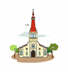 Red roof church vector