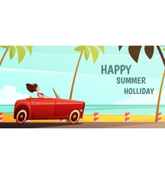 Retro Car Summer Holiday Vacation Poster vector image