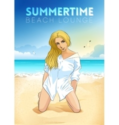retro poster with a girl sitting on beach vector image