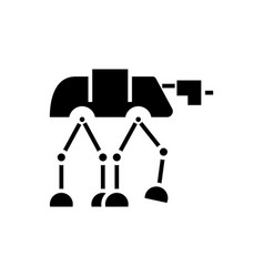 Robot warior armored transport icon vector