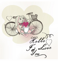 romantic card with toy rabbit and bicycle vector image
