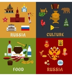 Russian travel and culture flat icons vector