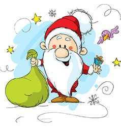Santa Claus holding a bag and gift in hands vector image