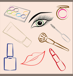 Set of decorative cosmetics makeup vector